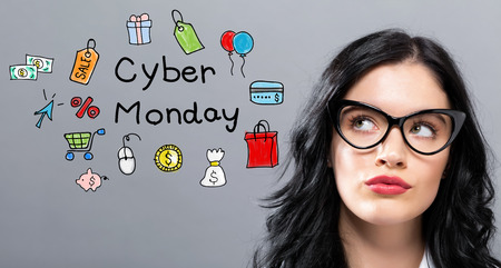 Cyber Monday with young businesswoman in a thoughtful face
