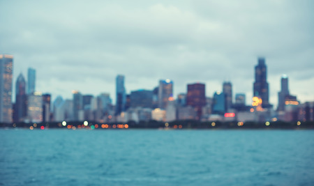 Blurred bokeh Chicago abstract cityscape skyline background Фото со стока
