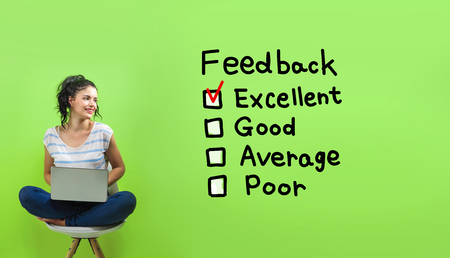Feedback with young woman using a laptop computer