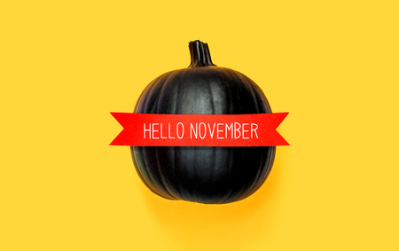 Hello November with a black pumpkin with a red banner