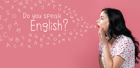 Do you speak English theme with young woman speaking on a pink background