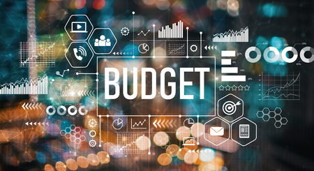 Budget with blurred city abstract lights background Stockfoto