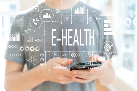 E-Health with young man using a smartphone Stock Photo