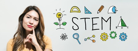 STEM with young woman in a thoughtful face