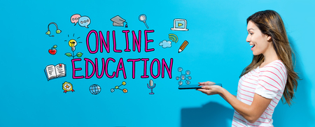 Online education with young woman using her tablet
