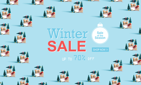 Winter sale message with little car carrying Christmas trees