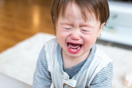 Niño molesto gritando y llorando en su casa Foto de archivo