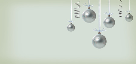 Collection of Christmas baubles on a shiny light background Stock Photo