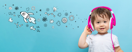Rocket illustration with toddler boy with headphones on a blue background