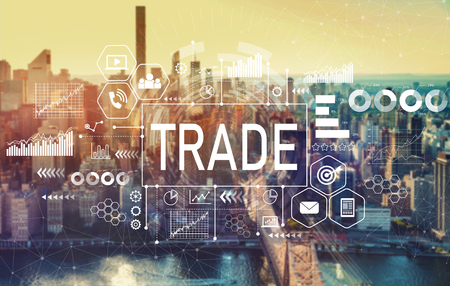 Trade with the New York City skyline near midtown Stock Photo