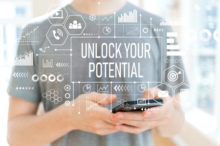 Unlock your potential with young man using a smartphone