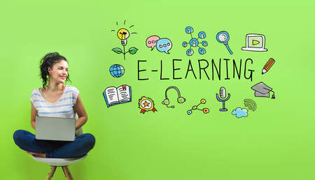 E-Learning with young woman using a laptop computer Stock Photo