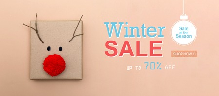 Winter sale message with a red nose reindeer gift box Фото со стока