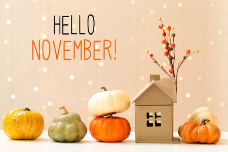 Hello November message with collection of autumn pumpkins with a toy house Imagens