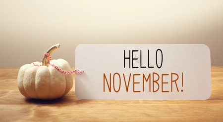 Hello November message with a white small pumpkin