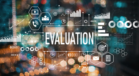 Evaluation with blurred city abstract lights background