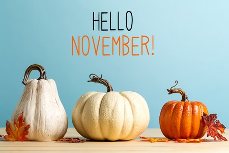 Hello November message with pumpkins on a blue background Banque d'images