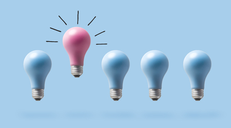 One outstanding idea concept with light bulbs on a blue background