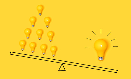 One big idea versus many small ideas with light bulbs