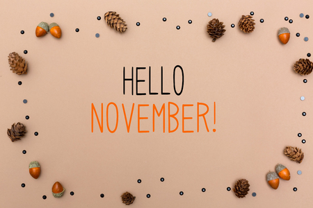 Hello November message with autumn themed background border Stok Fotoğraf