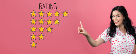 Rating theme with young woman on a pink background