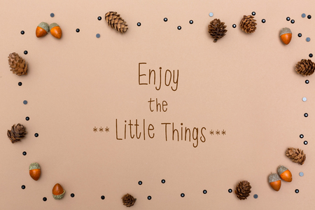 Enjoy the little things message with autumn themed background border Banque d'images - 111828380