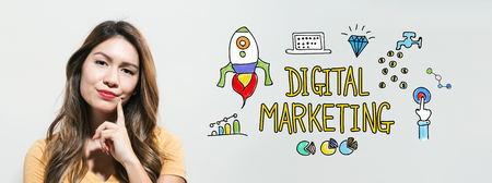 Digital marketing with young woman in a thoughtful fac
