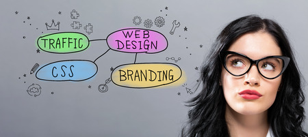 Web design concept with young businesswoman in a thoughtful face