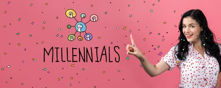 Millennials with young woman on a pink background