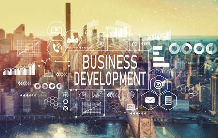 Business development with the New York City skyline near midtown