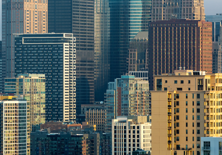 Chicago skyline skyscrapers and buildings before sunset Stock Photo - 111828989
