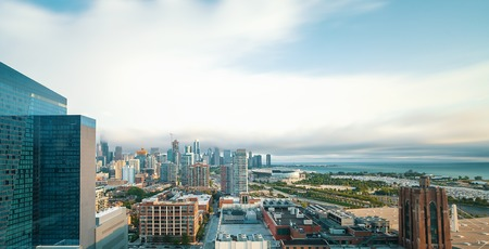Chicago cityscape and skyline with skyscrapers in the distance Stock Photo