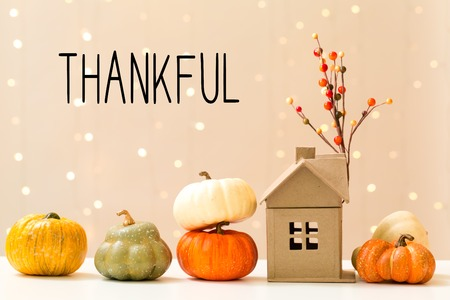 Thankful message with collection of autumn pumpkins with a toy house Reklamní fotografie