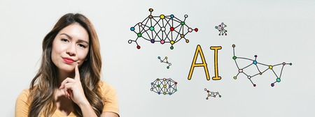 AI with young woman in a thoughtful fac Stock Photo