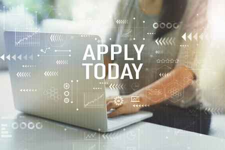 Apply today with woman using her laptop in her home office