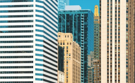 Chicago skyline skyscrapers close up background buildings