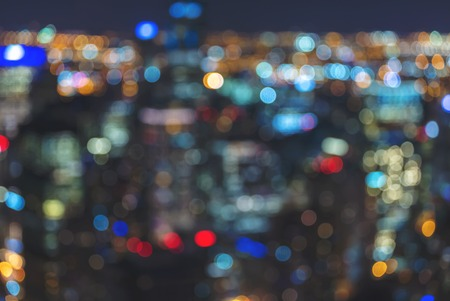 Blurred bokeh Chicago abstract cityscape skyline at night Stock Photo - 111865639
