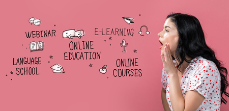 Online education theme with young woman speaking on a pink background