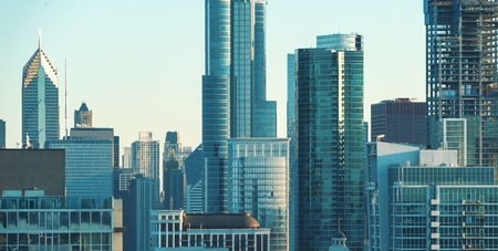 Chicago skyline skyscrapers and cityscape during late afternoon Stock Photo