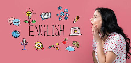 English with young woman speaking on a pink background