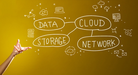 Cloud computing concept with a hand in a dark yellow background