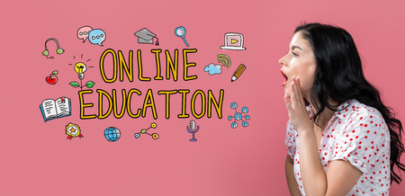 Online education with young woman speaking on a pink background