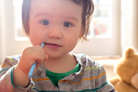 Toddler boy brushing his teeth with a toothbrush Stock Photo - 111868010