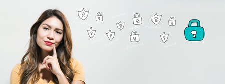 Cyber security with young woman in a thoughtful fac