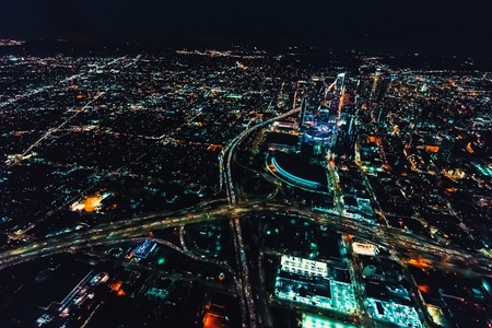 Aerial view of a massive highway in Los Angeles, CA at night Stock Photo