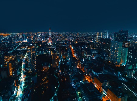 Aerial view of the Tokyo cityscape at night Archivio Fotografico - 112586223