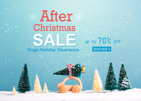 After Christmas sale message with little car carrying a Christmas tree