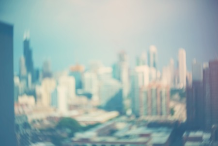 Blurred bokeh Chicago abstract cityscape skyline background Stock Photo - 112586438