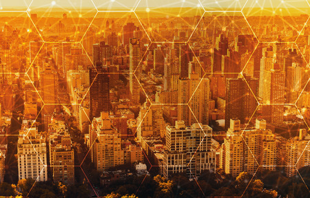 Hexagon grid with aerial view of Manhattan, NY skyline Stock Photo