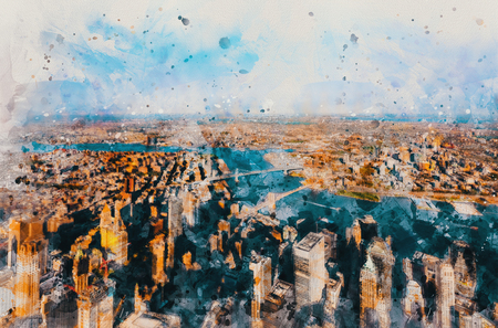 Aerial view of New York City with a view of the Brooklyn and Manhattan Bridges watercolor painting